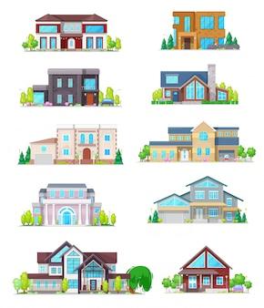 Construcción de viviendas de bienes raíces y los iconos de casa cabaña