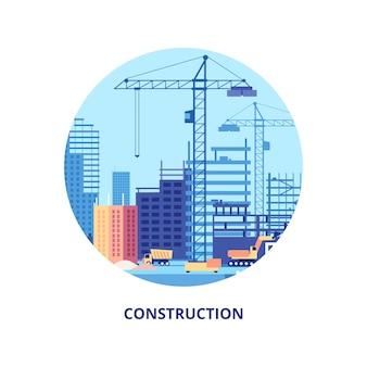 Construcción de viviendas. proceso de trabajo de plantilla de banner de construcción y maquinaria de edificios