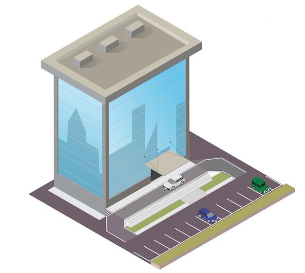 Construcciones isométricas de vidrio y hormigón.