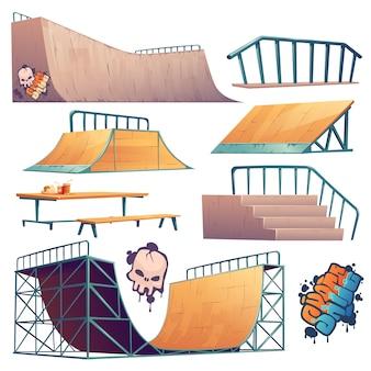 Construcciones de skate park o rollerdrome para acrobacias de salto en patineta