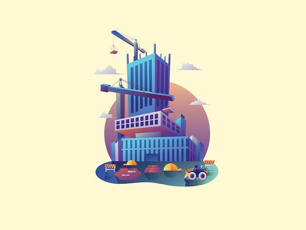 Constructor de apartamentos web vector illustration