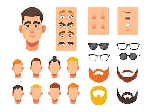 Constructor de cara de hombre, elementos faciales para la construcción avatar de personaje masculino caucásico, cabezas de peinado, nariz y ojos