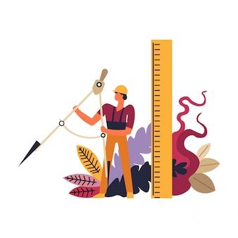 Constructor con casco, hombre trabajador con herramientas de reglas