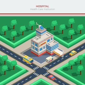 Constructor de ciudad isométrica con edificio de hospital