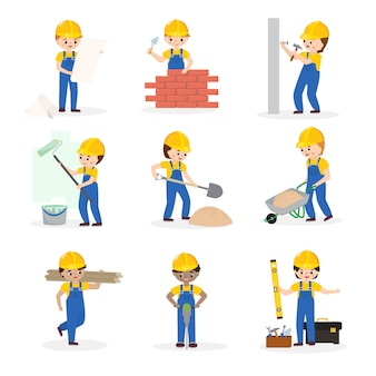 Constructor constructor de personajes de dibujos animados de vectores construcción de edificios para ilustración de construcción nueva construcción de trabajadores o contratistas conjunto constructivo aislado en espacio en blanco