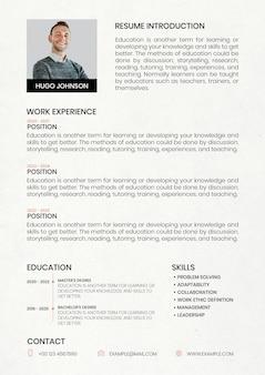 Constructor de cv de plantilla editable de currículum mínimo para profesionales