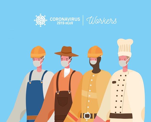 Constructor jardinero y chef con uniformes y diseño de máscaras.