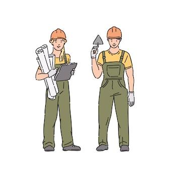 Constructor mujer y hombre en uniforme profesional y casco protector. ilustración de personas en estilo de arte lineal en blanco
