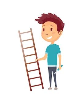 Constructor de niños. pequeño trabajador. niños con escalera y destornillador, haciendo trabajo. chico divertido listo para trabajos de reparación.
