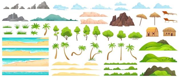 Constructor de paisaje de playa. playas de arena, palmeras tropicales, montañas y colinas. conjunto de ilustraciones de dibujos animados de horizonte oceánico, nubes y árboles verdes.