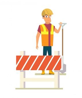 Constructor con pala en road works flat vector