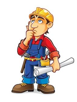 El constructor está pensando con la mano en la barbilla y sosteniendo el plano