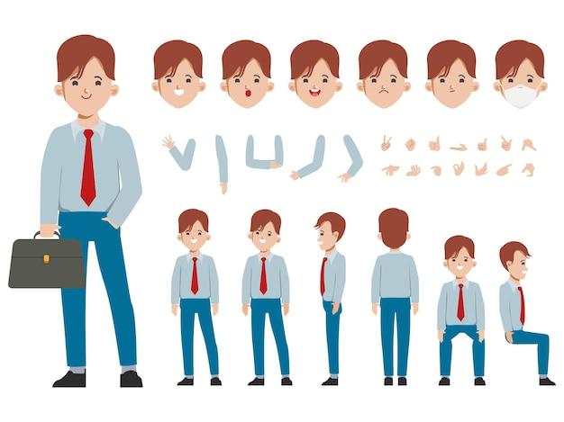 Constructor de personajes de empresario para diferentes poses conjunto de varios rostros de hombres