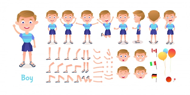 Constructor de personajes de niño. kit de mascota de creación de niño de dibujos animados. la creación de personajes plantea poses y emociones para animación e ilustraciones.