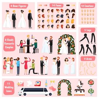Constructor de personajes ortogonales de personas de la boda