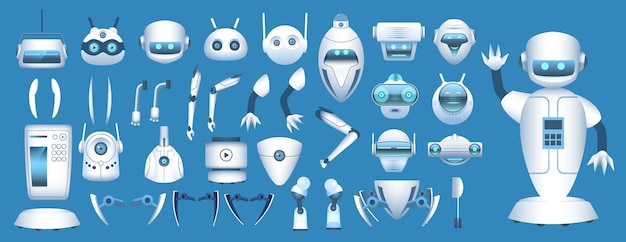 Constructor de personajes robot. partes del cuerpo de android futurista de dibujos animados. brazos, piernas y cabezas robóticos para animación. conjunto de vectores de elementos de robots. ilustración de piezas de colección de personajes de robot