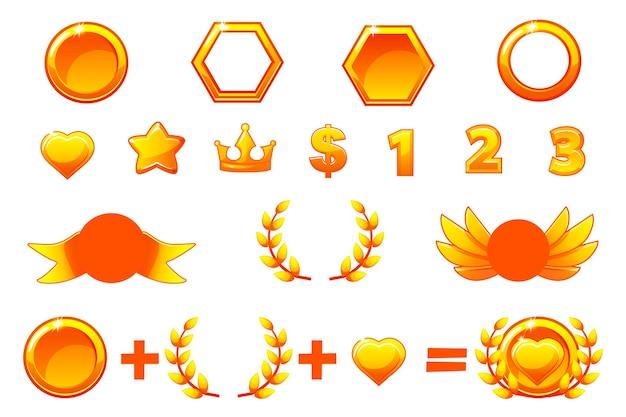 Constructor de premios de oro, conjunto de vectores para crear diferentes medallas o iconos de kit.