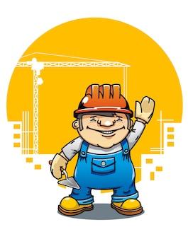 Constructor sonriente de la historieta con las herramientas en la construcción de edificios