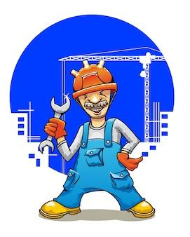 Constructor sonriente de la historieta con llave en la construcción de edificios
