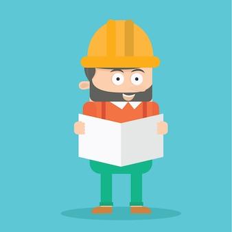 Constructor trabajador personaje de dibujos animados vector de diseño