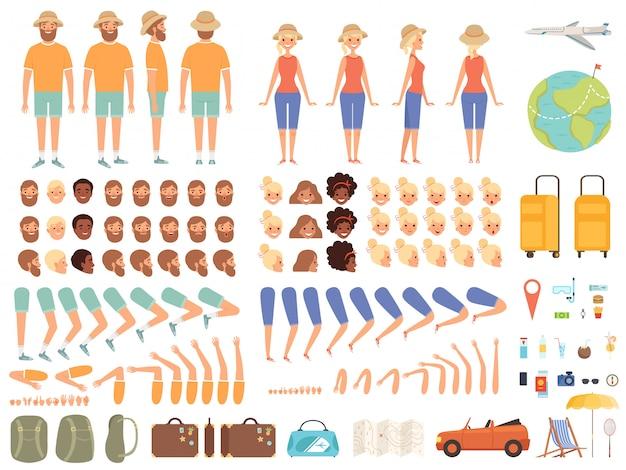 Constructor de viajes. personaje femenino senderismo camping turístico con kit de creación de dibujos animados de equipaje