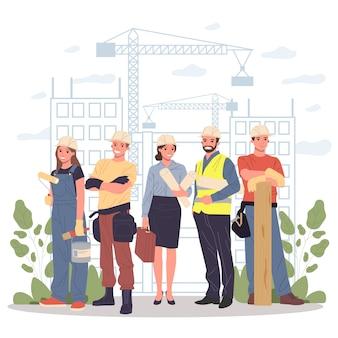 Constructores, arquitecto, ingeniero, capataz