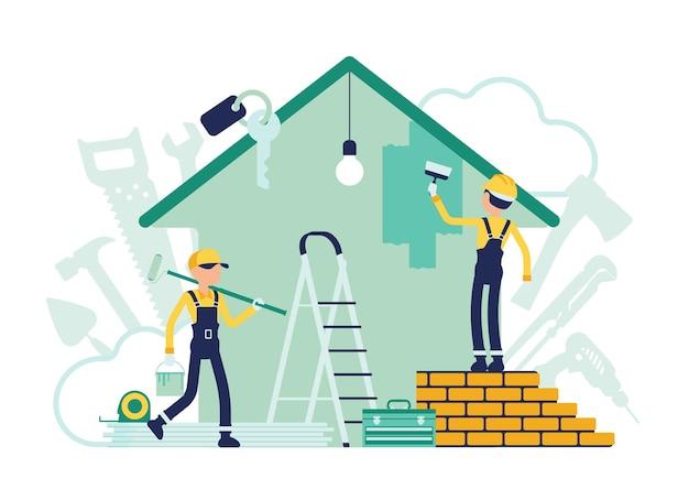 Constructores haciendo reparaciones de apartamentos, trabajadores ocupados pintando la pared de la casa