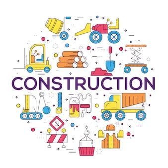 Constructores haciendo trabajo de mano de obra y trabajando con el concepto de vehículos pesados.
