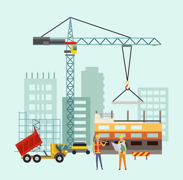 Constructores en el sitio de construcción. trabajos de construcción de viviendas con casas y máquinas de construcción. ilustración vectorial con personas