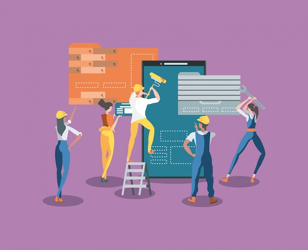 Constructores y teléfonos inteligentes con página web en construcción