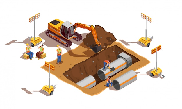 Constructores con vehículos de construcción y equipos de iluminación.
