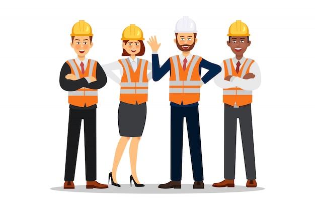 Constructores vestidos con chalecos y cascos protectores. carácter trabajador de la construcción