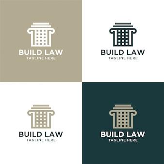 Construir ley abstracta con diseño de lujo de logotipo de pilar