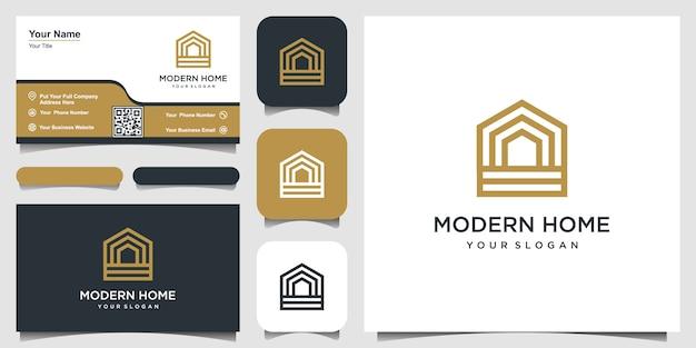 Construir el logotipo de la casa con estilo de arte lineal. resumen de construcción casera para diseño de logotipo y tarjeta de visita