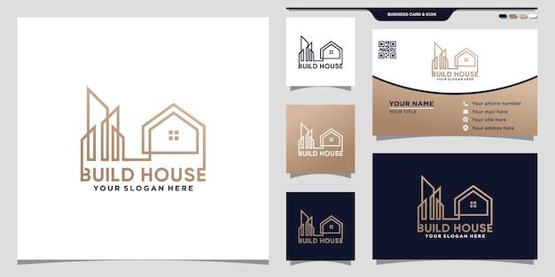 Construya el logotipo de la casa para la construcción de negocios con estilo de arte lineal y tarjeta de presentación