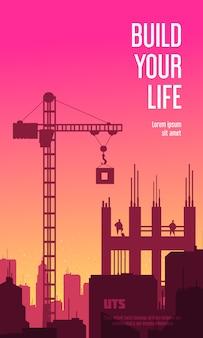 Construya su banner vertical de vida con siluetas de grúa y edificio sin terminar en la ilustración plana de fondo al atardecer