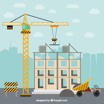 Construyendo una casa en diseño plano con elementos de construcción