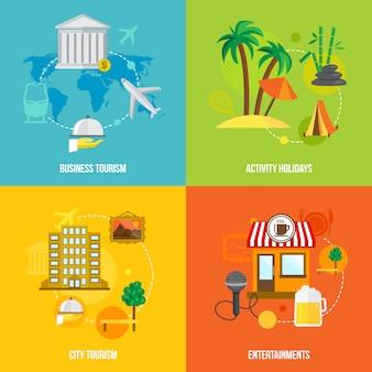 Construyendo conceptos de turismo plano.