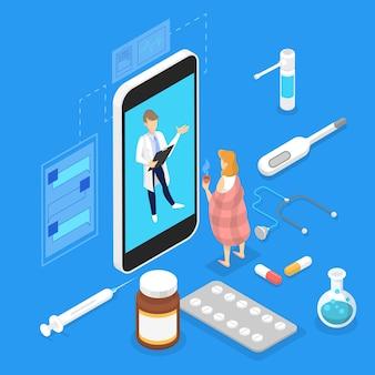 Consulta en línea con doctora. tratamiento médico remoto en el teléfono inteligente. servicio móvil. ilustración isométrica