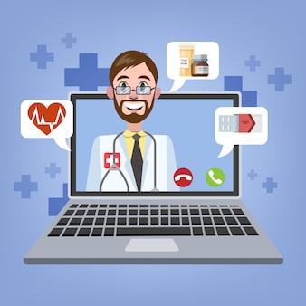 Consulta en línea con médico varón. tratamiento médico a distancia. servicio móvil. ilustración