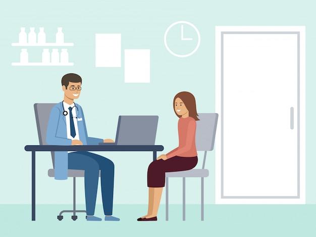 Consulta médica. diagnóstico de un paciente por un médico.