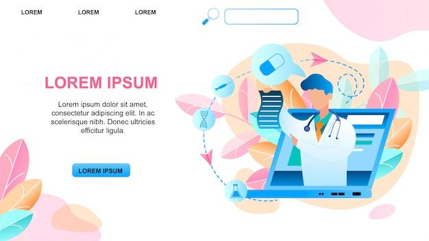 Consulta médica de ilustración médico en línea