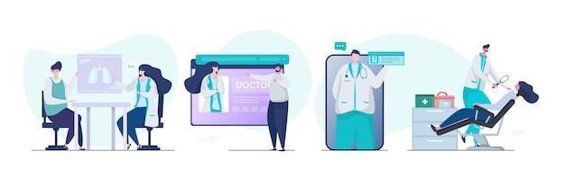 Consulta médica en línea con conjunto de ilustración de médico