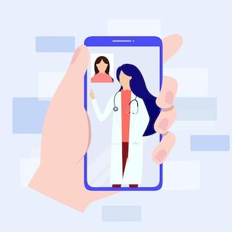 Consulta médica en línea a través de su concepto de teléfono inteligente.