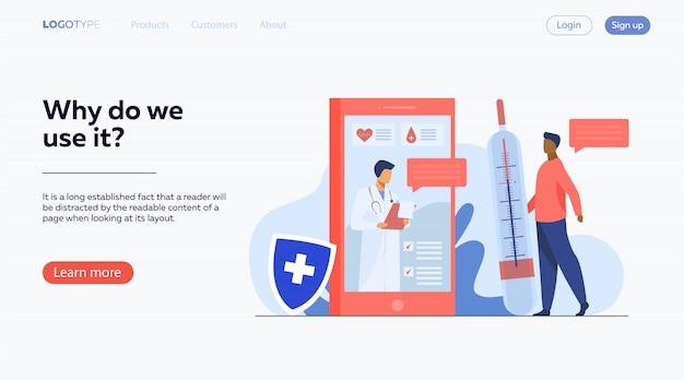 Consulta médica en línea a través de un teléfono inteligente