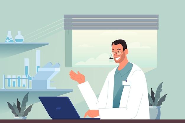 Consulta médica online. idea de tecnología digital