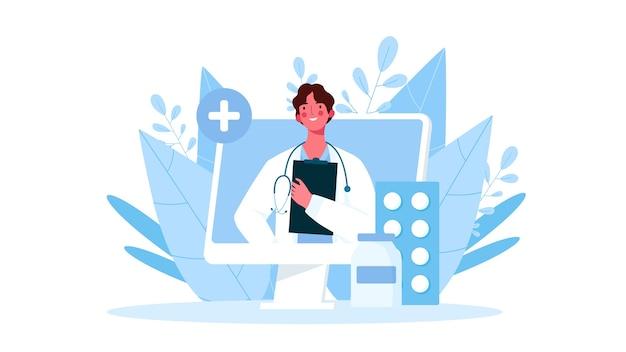 Consulta médica online, soporte. médico en línea. servicios de atención médica. ilustración
