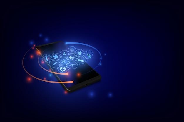 Consulta médica y tratamiento a través de la aplicación de la clínica de internet conectada a un teléfono inteligente.