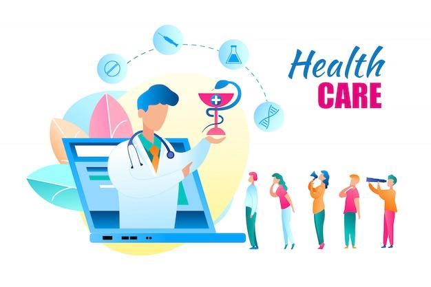 Consulta de médico de atención médica en línea vector plano