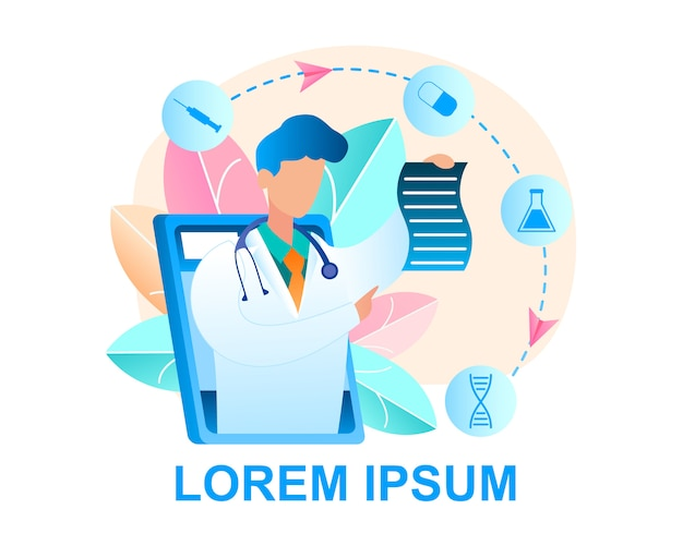 Consulta de médico en línea ilustración paciente